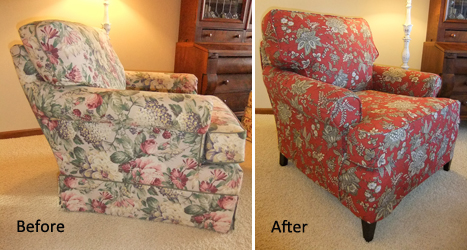 Outdated Chair Gets Slipcover Makeover. Annettes_chair_beforeafter