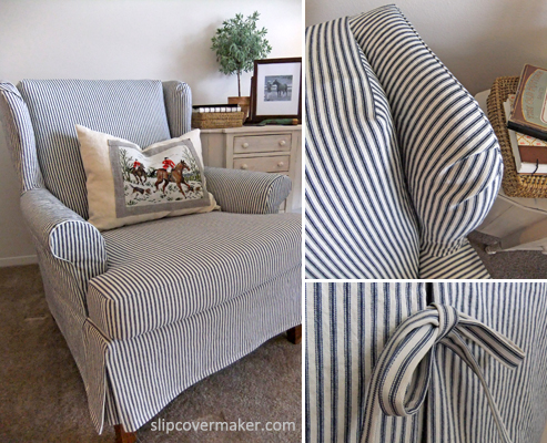Beau Simple Ticking Slipcover For Wingback Chair