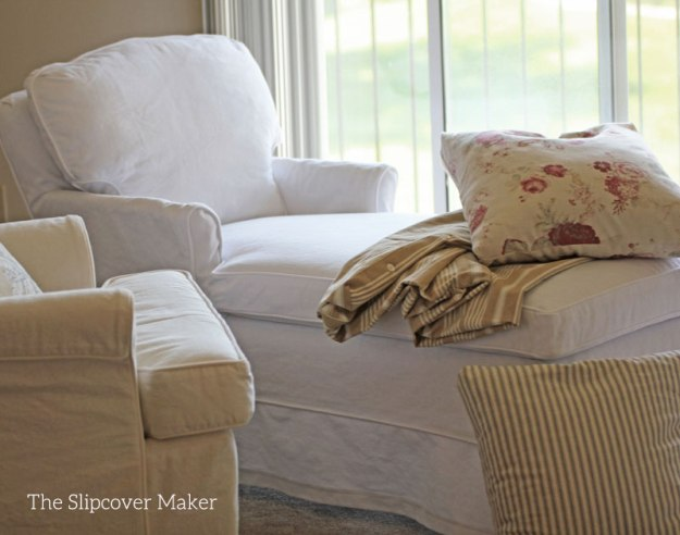 White Denim Chaise Slipcover