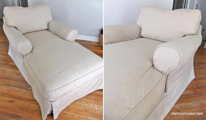 Slipcover makeover for puppy chewed chaise the slipcover for Chaise lounge cushion slipcovers