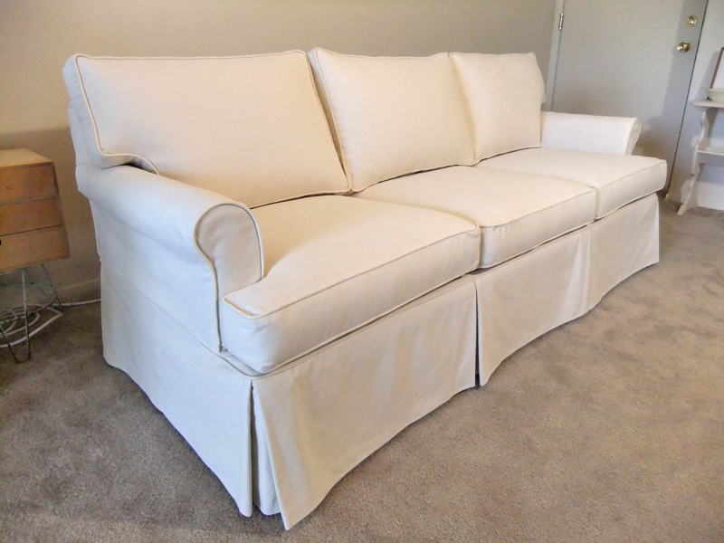 Natural Canvas Slipcover For Ethan Allen Sofa The