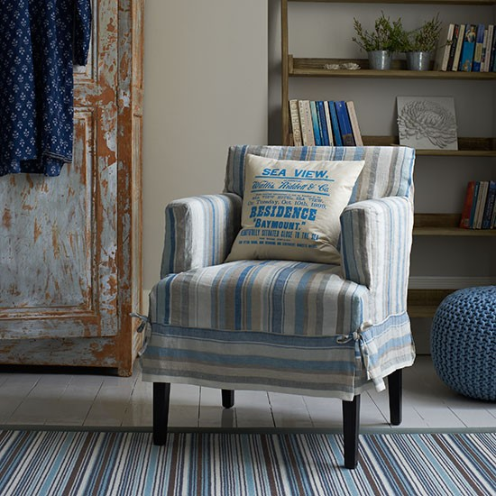 Multi-stripe slipcover from Country Homes & Interiors