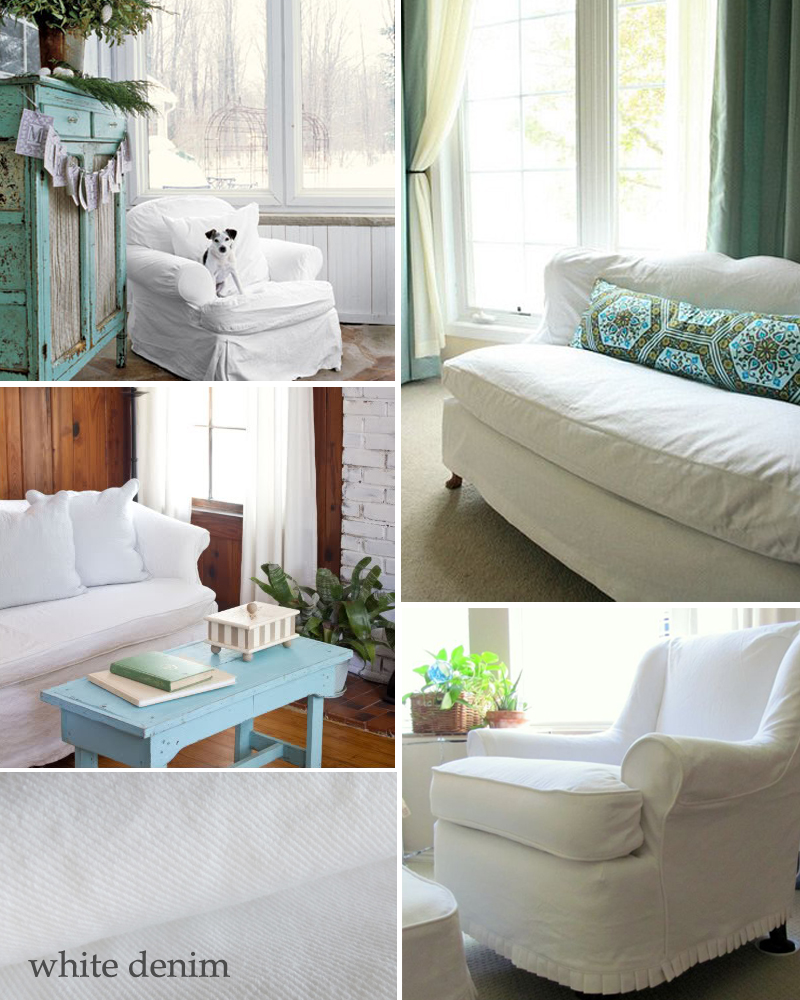 white denim slipcovers | The Slipcover Maker
