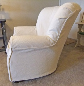 Natural Denim Slipcover For Curvy Armchair The Slipcover