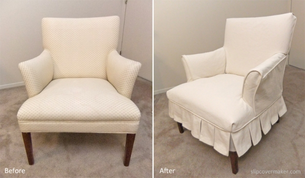 Natural Denim Slipcover with Pleat Skirt
