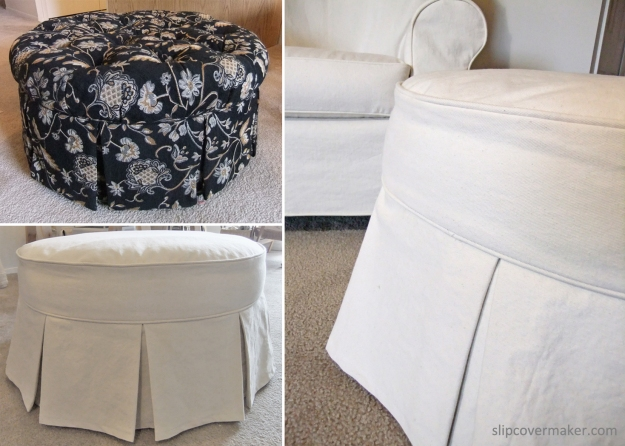Natural Denim Ottoman Slipcover