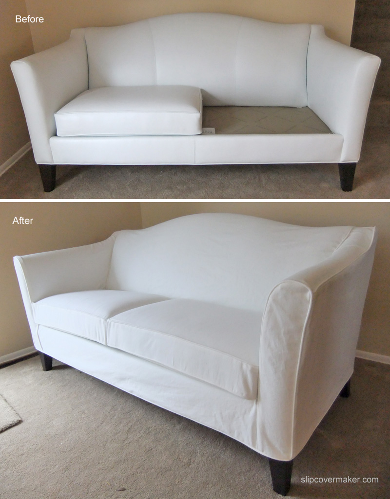 White denim slipcover for ethan allen leather sofa the for Couch covers for leather couches