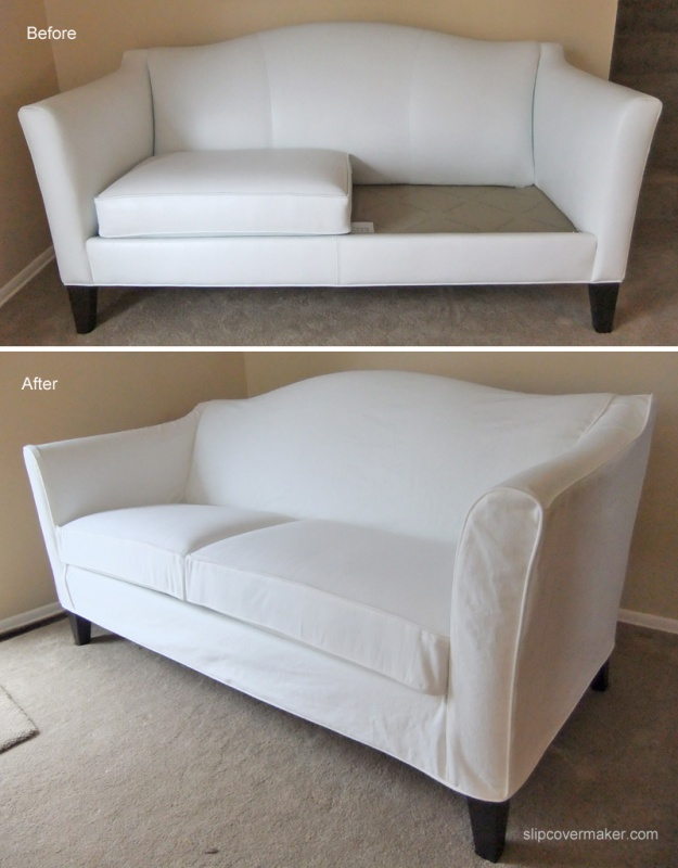 WHite Denim Slipcover for Ethan Allen Hartwell Sofa : before after sofa slipcover from slipcovermaker.com size 625 x 801 jpeg 158kB