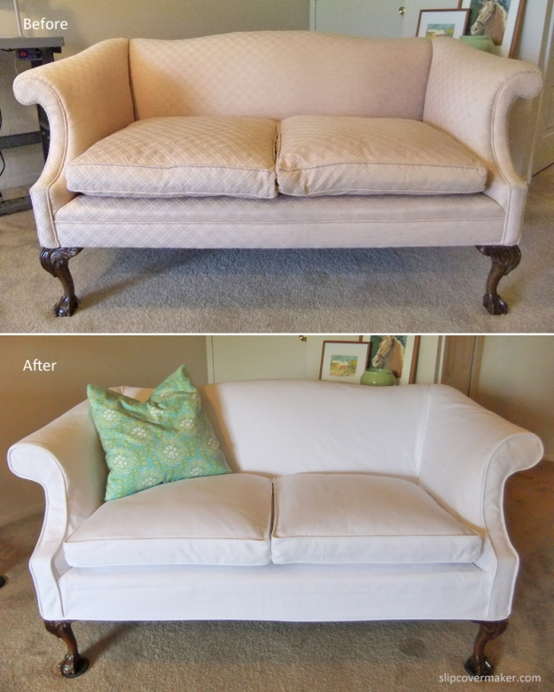 white denim slipcover by karen's custom slipcovers