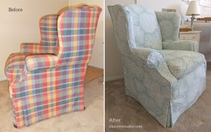 Coral Print Slipcover for Ethan Allen Chair