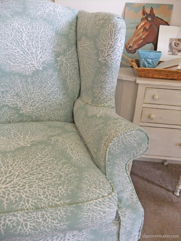 Coral Print Slipcover by Karen Powell