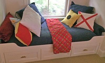 Kid's built-in bed before denim slipcover.