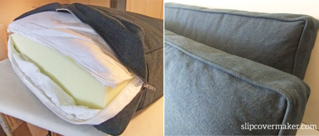 Foam cushion insert with down wrap for denim slipcovers.