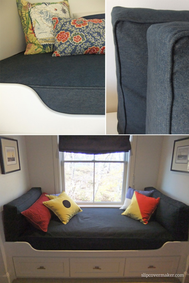 Indigo denim slipcovers for kid's mattresses.