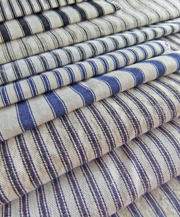 These are just a few of the classic ticking stripe fabrics I have sampled for slipcovers.