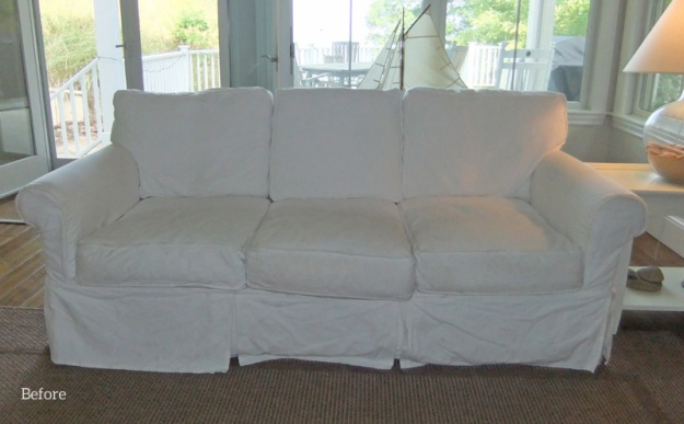 Before: original white twill slipcovers