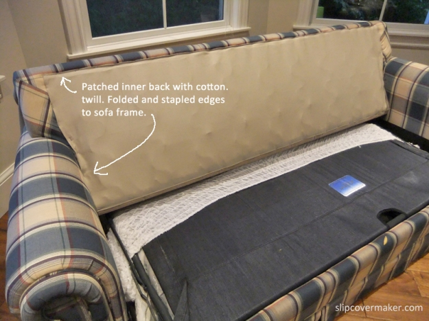 Sleeper sofa inner back patch.