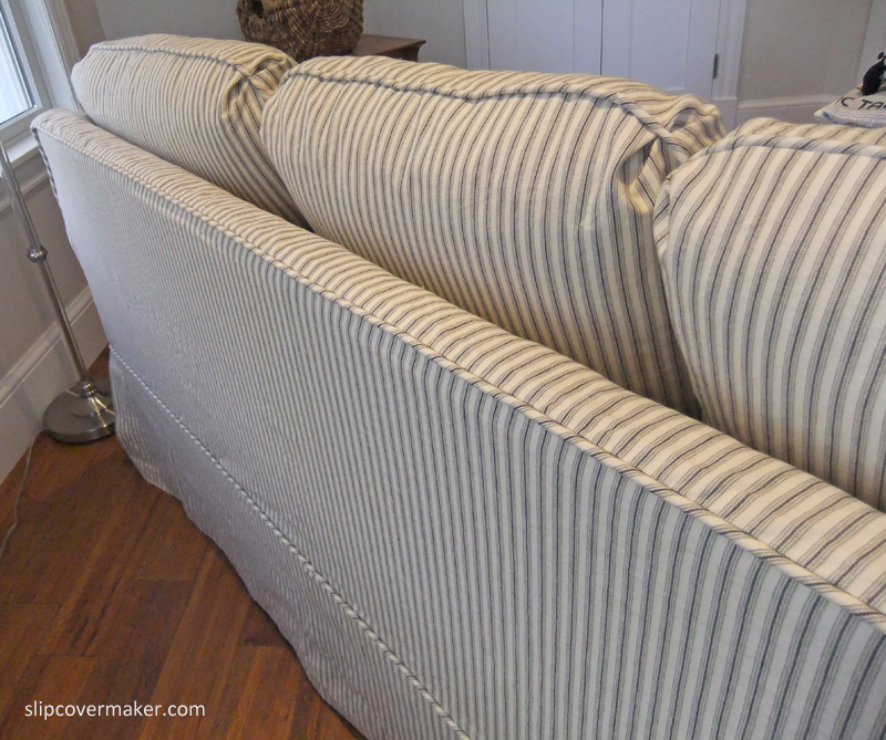 Sleeper sofa slipcover in ticking stripe the slipcover maker Sleeper sofa covers