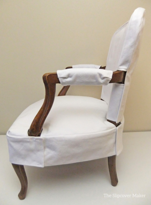 Simple White Denim Slipcover For French Chair The