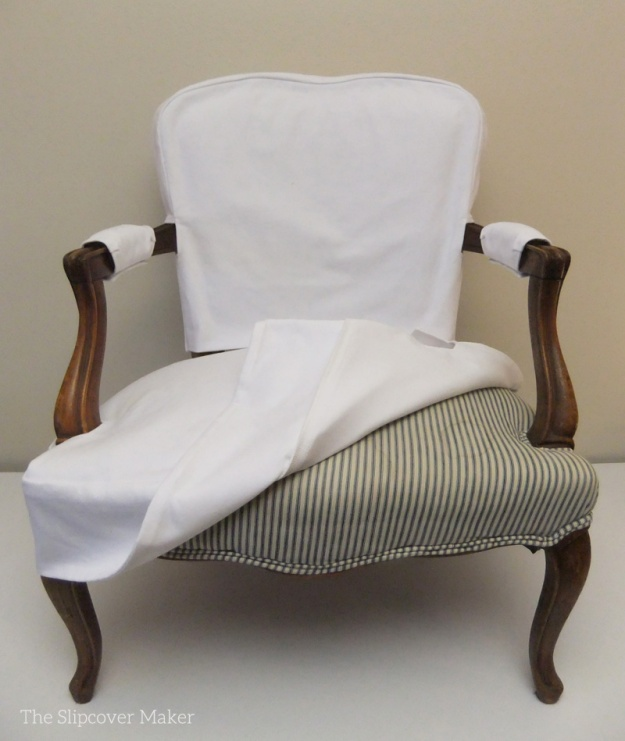 White French Slipcover over Old TIcking