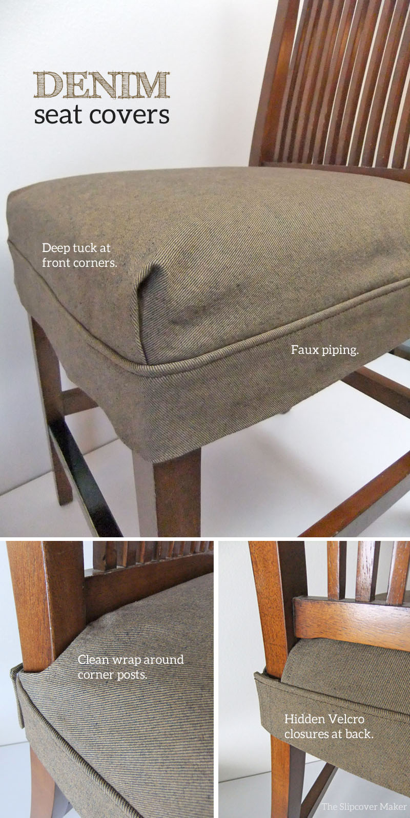 denim seat covers by the slipcover maker makeover for torn leather dining room chairs