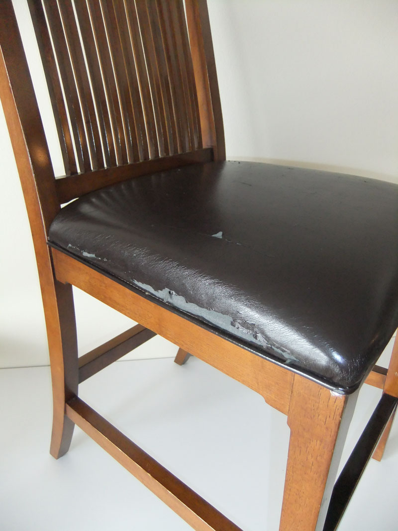 Makeover For Torn Leather Dining Room Chairs Washable Seat