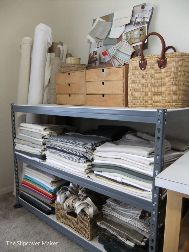 Steal fabric shelving for the slipcover workroom.