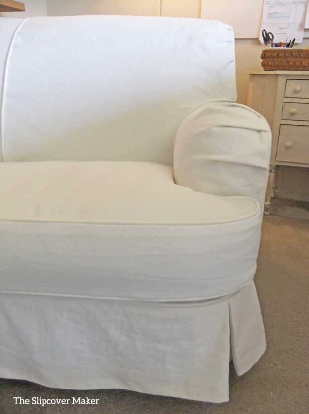 chair slipcovers The Slipcover Maker : white denim love seat front arm w from slipcovermaker.com size 625 x 837 jpeg 311kB