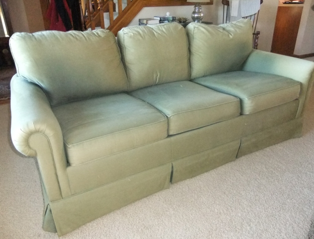 Old Sofa Before Linen Slipcover