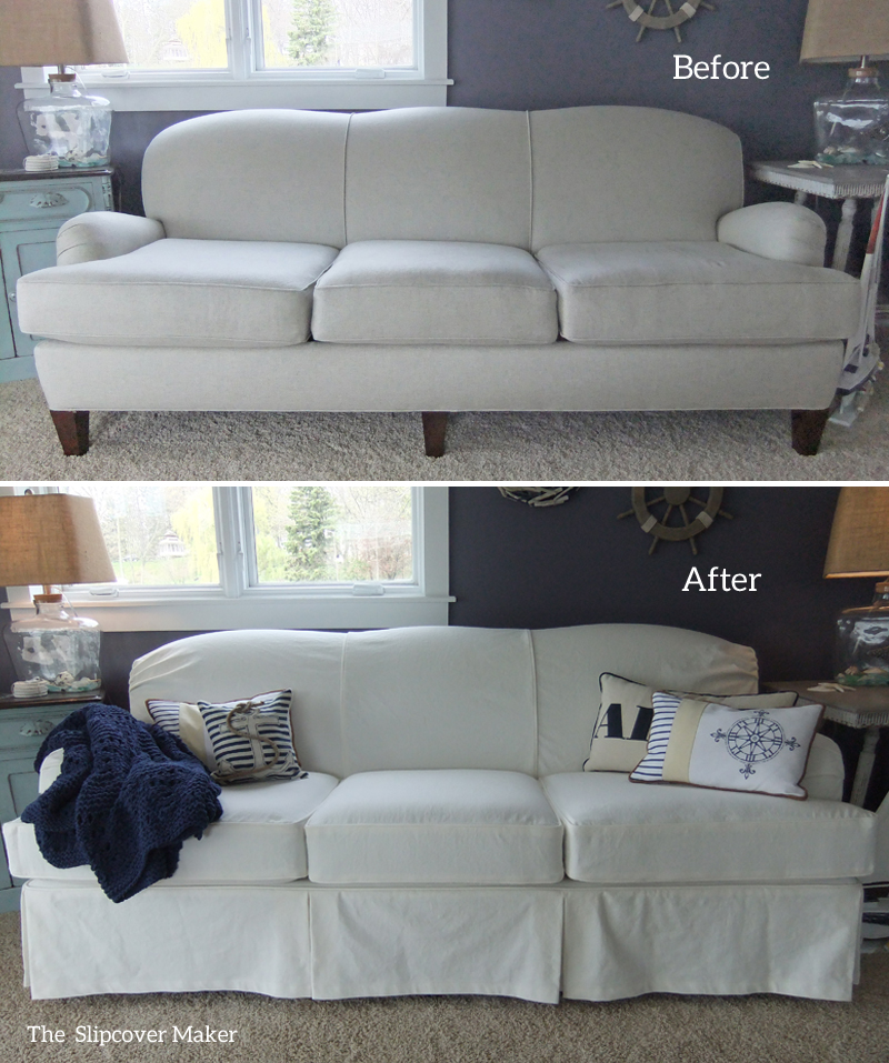 White Denim Slipcover For Art Van Sofa