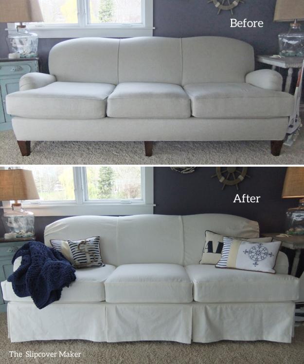 White Denim Slipcover for Art Van Sofa