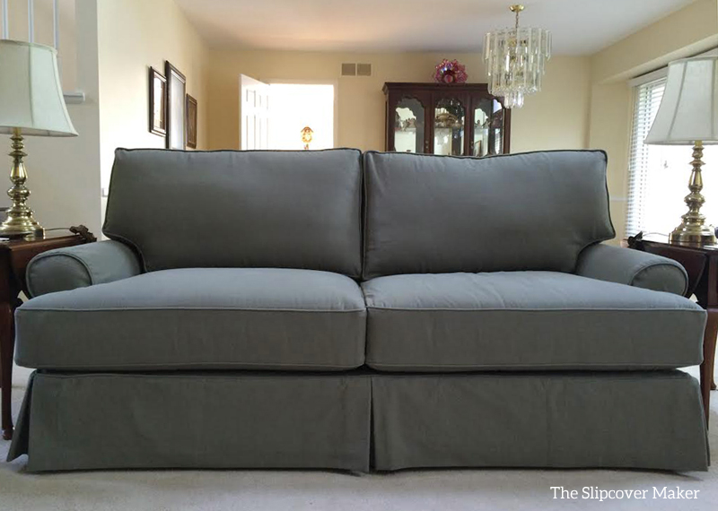 denim loden green sofa slipcover | The Slipcover Maker