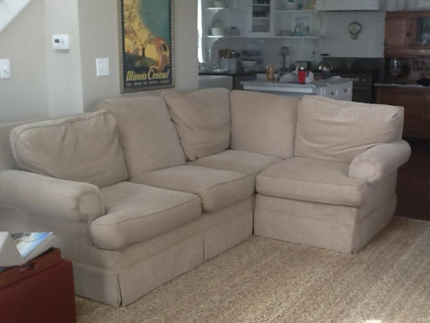 Sectional Sofa Before Slipcover Makeover