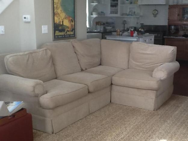 Sectional Sofa Before Slipcover Makeover