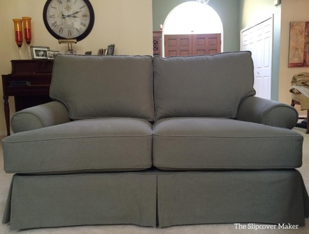 Custom Denim Slipcover for Quatrine Loveseat