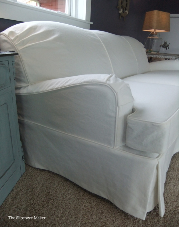 White Denim Slipcover for English Arm Sofa