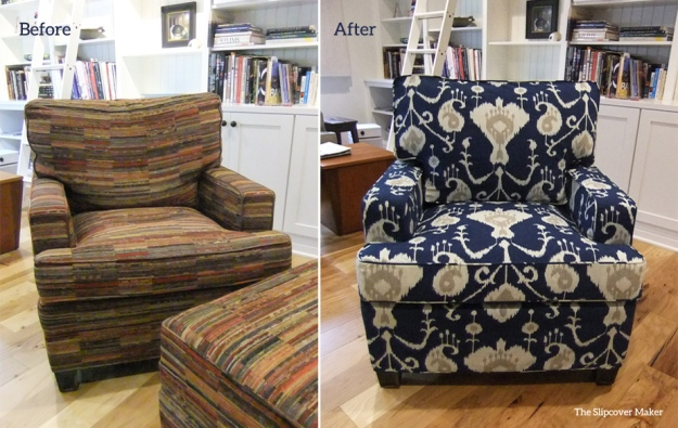 Indigo Ikat Chair Slipcover by Karen Powell