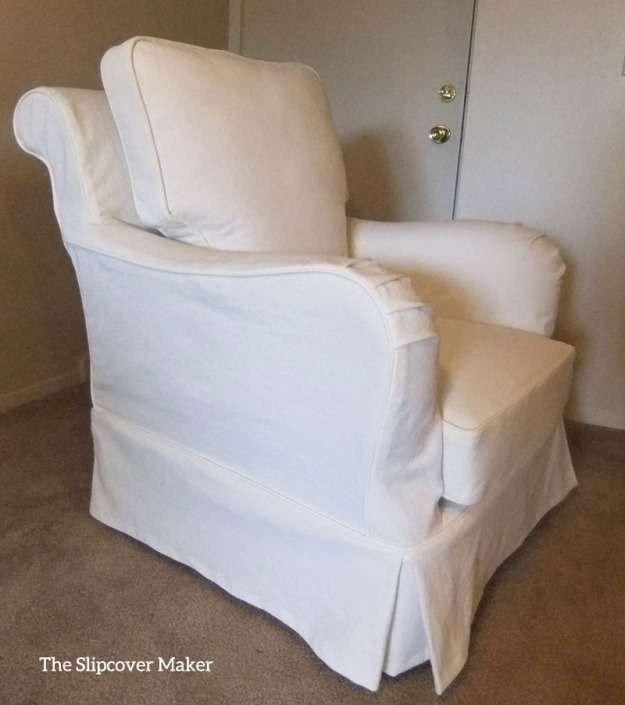 White Denim Chair Slipcover by Karen Powell