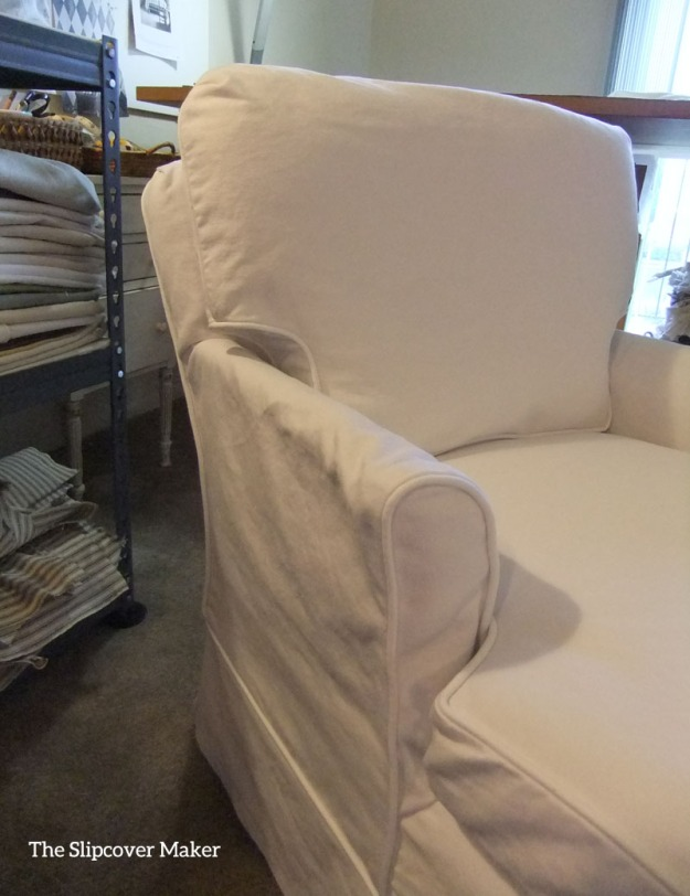 White Denim Slipcover for Old Chaise