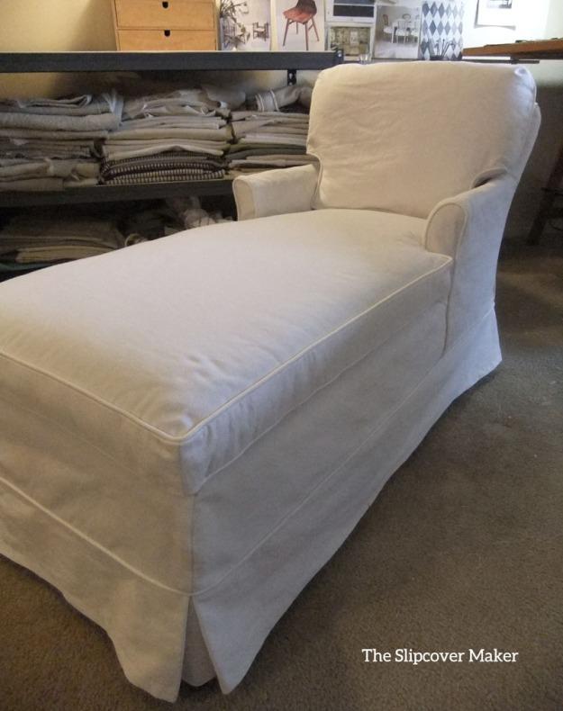 White Denim Chaise Slipcover by Karen Powell