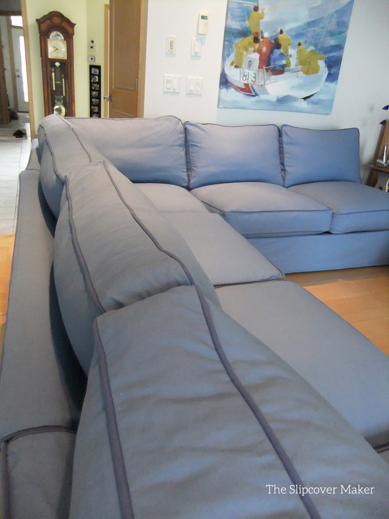 blue canvas slipcover for big sectional sofa the slipcover maker. Black Bedroom Furniture Sets. Home Design Ideas