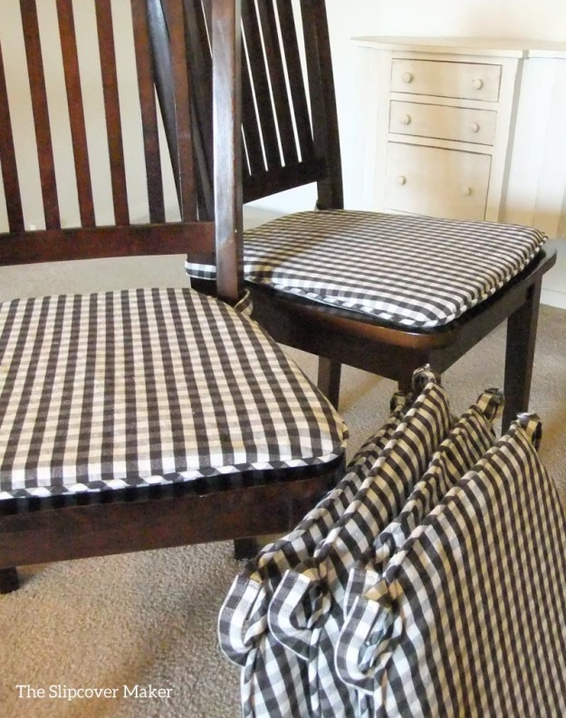 Chair Pads in Charcoal Gingham