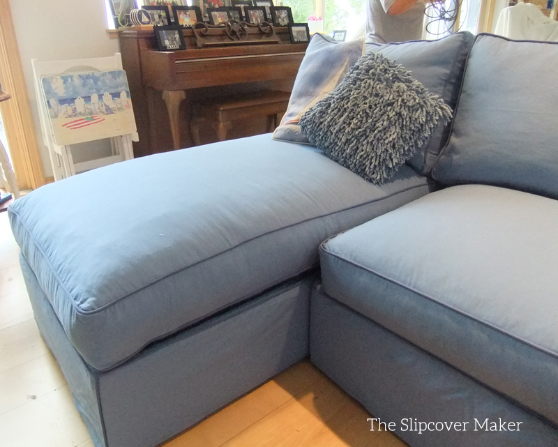Blue canvas slipcover for big sectional sofa the for Chaise couch slipcover