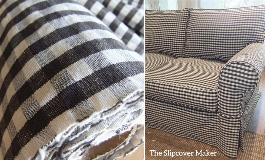Charcoal Gingham For Sofa Slipcover