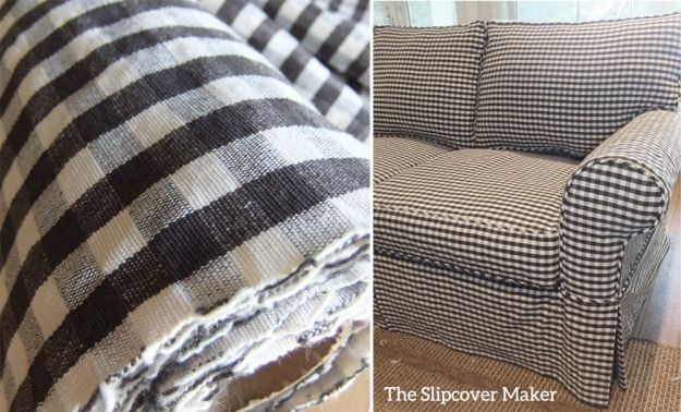 Charcoal Gingham for Sofa Slipcover