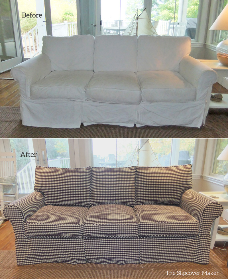 Custom Sofa Slipcover in Gingham | The Slipcover Maker