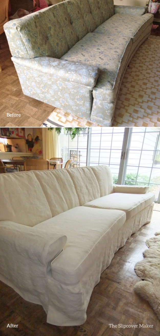Hemp Slipcover Before and After