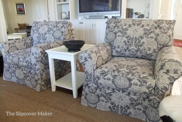 Pair of Elephant Print Chair Slipcovers