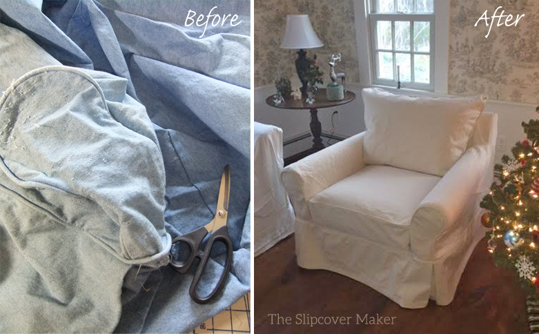 Natural Denim Chair Slipcover Carol ...