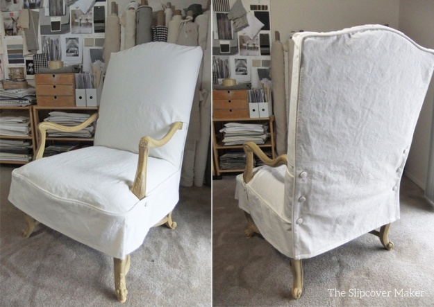 French Chair Slipcover Natural Canvas